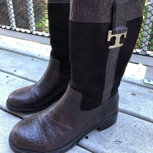 Tory Burch Cory Boots in Chocolate Brown leather